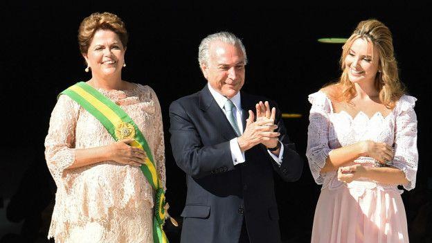 Rousseff, Temer y su esposa
