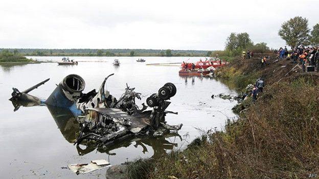 雅罗斯拉夫尔空难现场:飞机残骸大部分落在附近的河中