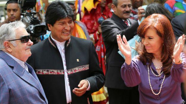 José Mujica con Evo Morales y Cristina Fernández