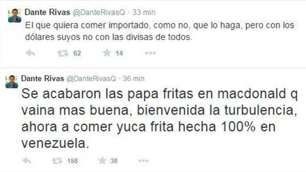 Los tuits de Dante Rivas