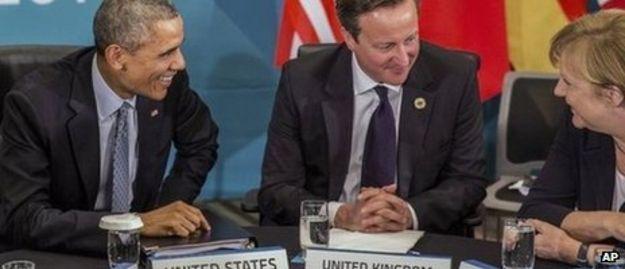 Barack Obama, David Cameron y Angela Merkel