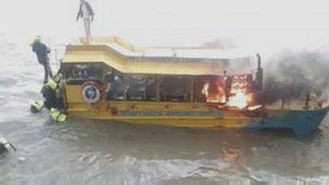 Rescate de turistas de un barco en llamas en Londres
