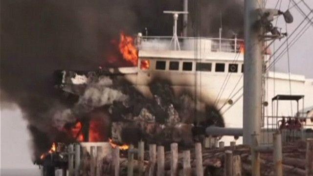 судно, пожежа