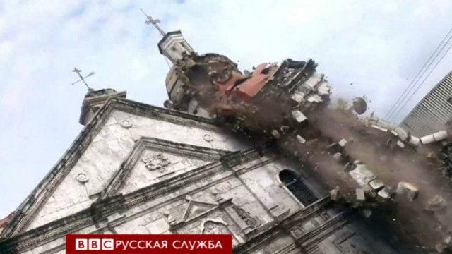 Обрушение колокольни храма на Филиппинах
