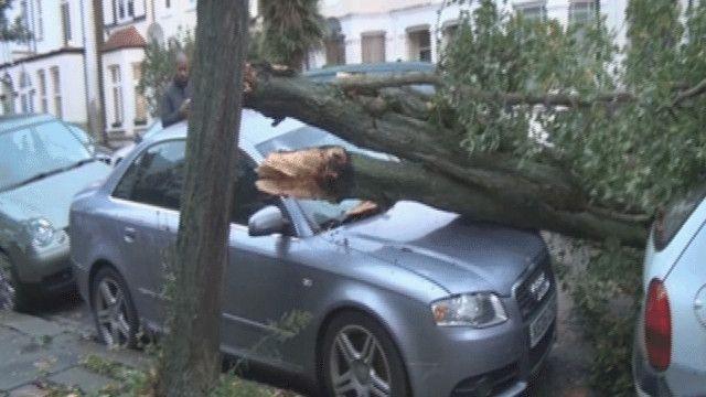 العاصفة الحقت اضرارا بالسيارات وبعض المنازل وحركة المرور