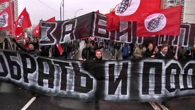 تظاهرة في روسيا ضد المهاجرين من آسيا الوسطى