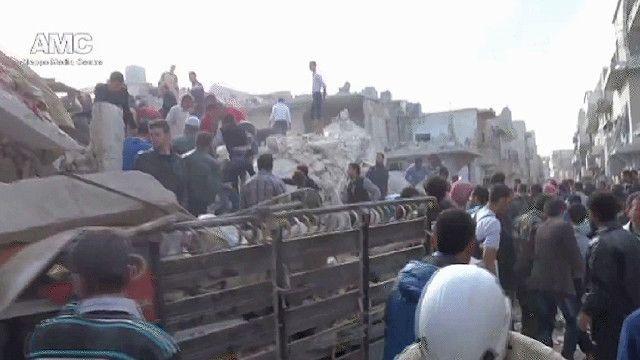 اثار الدمار على الابنية في الغوطة الشرقية