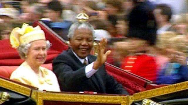 ملكة بريطانيا ونيلسون مانديلا