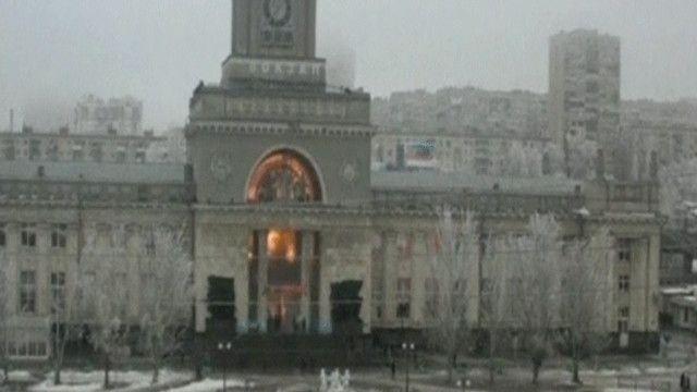 محطة للقطارات في مدينة فولغوجراد لحظة الانفجار