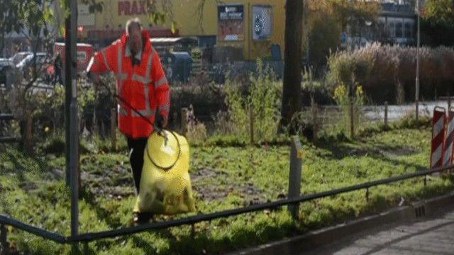 مواطن هولندي ينظف الحديقة