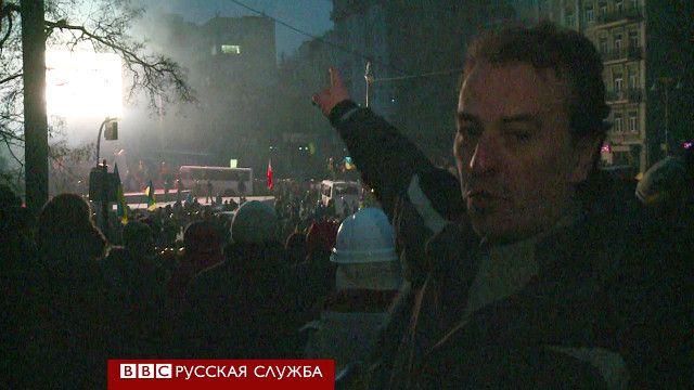 Юрий Маловерьян на месте столкновений в Киеве 19 января 2014 года