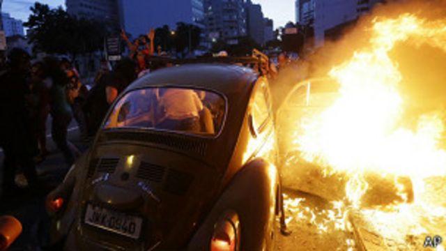 Brasil: brotes de violencia en manifestación contra el Mundial