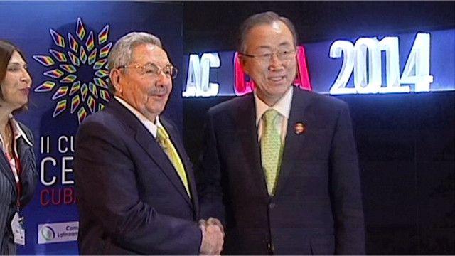 الرئيس الكوبي راؤول كاسترو وبان كي مون