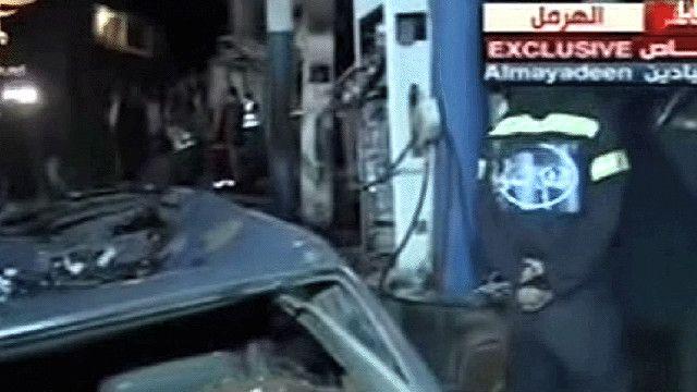 اثار التفجير على محطة الوقود في الهرمل