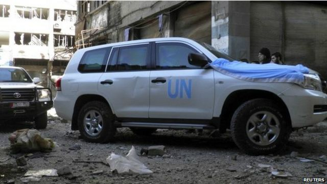 聯合國救援車隊在敘利亞霍姆斯市遇襲