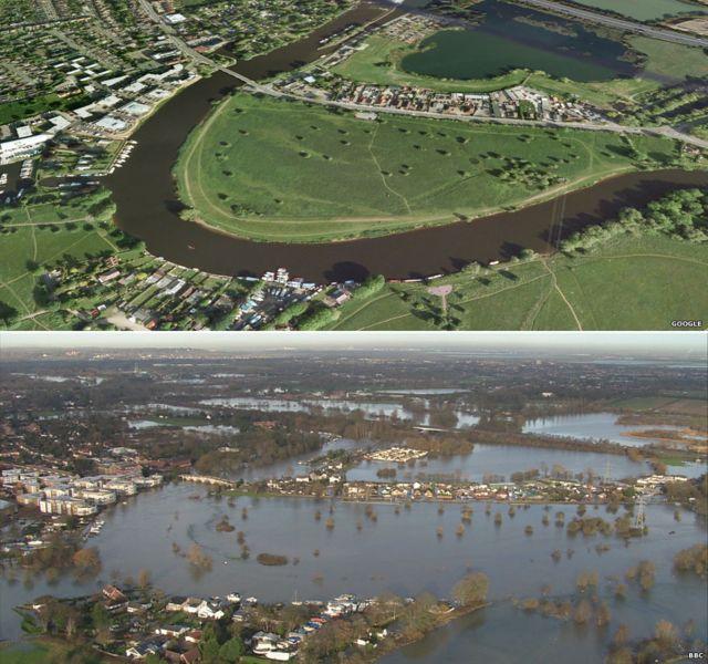 Города на берегах Темзы до и после наводнения