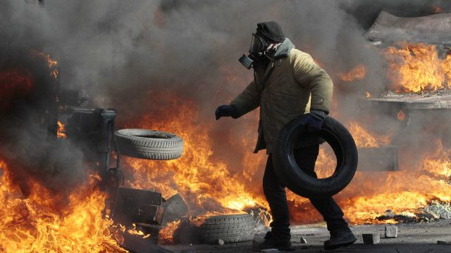 Протестующий в Киеве