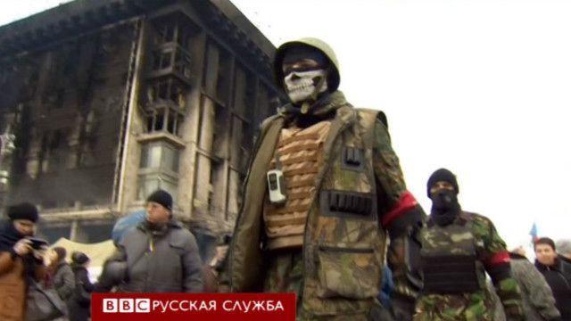 Люди в масках на Майдане