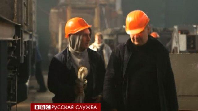 Рабочие в Луганске