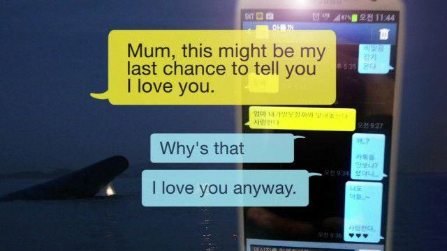 Filha envia mensagem de texto à mãe sobre naufrágio do navio | BBC