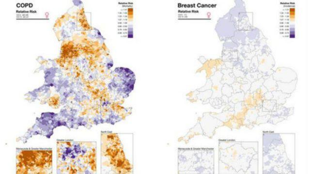 خريطة إلكترونية في بريطانيا تبين أماكن انتشار الأمراض