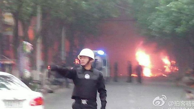 موقع الانفجارفي مدينة أورومتشي بالصين