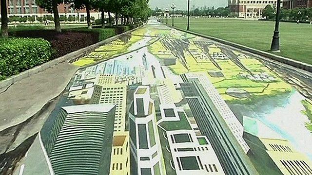 Pintura de una calle en tres dimensiones