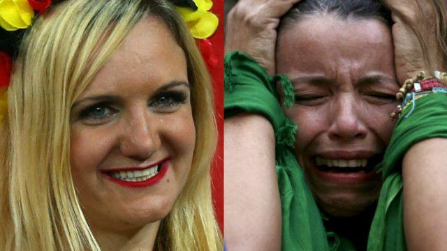 Montagem torcedoras Brasil e Alemanha | Crédito: AP/Getty