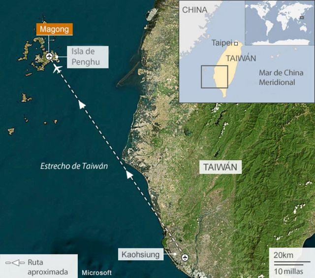 Se estrella avión de pasajeros con 58 personas a bordo en Taiwán