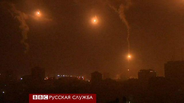 Ночной обстрел Газы