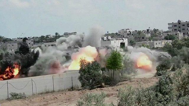 Destrucción de un túnel de Hamas (imagen de las Fuerzas de Defensa de Israel)