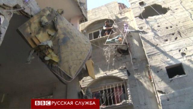Последствия обстрела в городе Газа