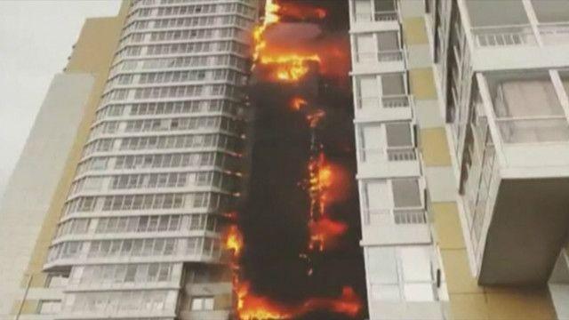 Красноярск, пожар в многоэтажке