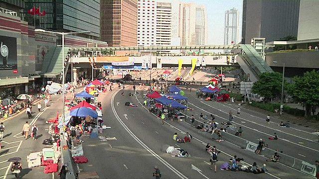 Cảnh biểu tình ở Hong Kong hôm 6/10