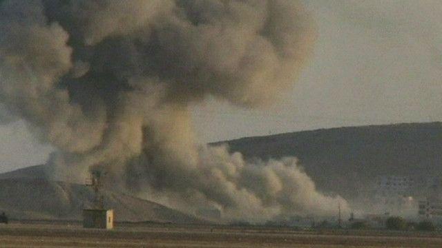 اثار الانفجارات على مدينة كوباني