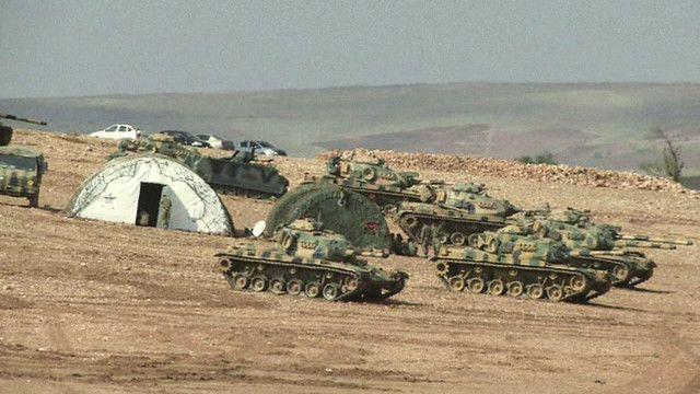 دبابات على حدود عين العرب كوباني