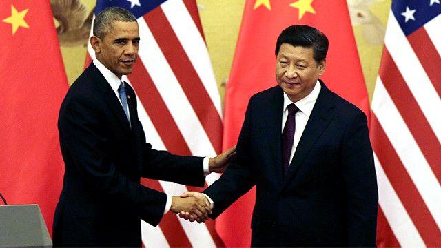 امریکہ کے صدر براک اوباما چینی صدر کے ہمراہ