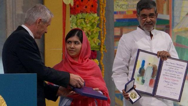 Малала на церемонии вручения Нобелевской премии мира