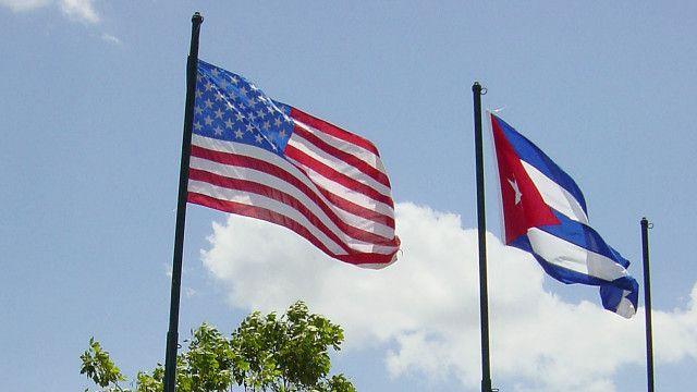Cuba and USA flags