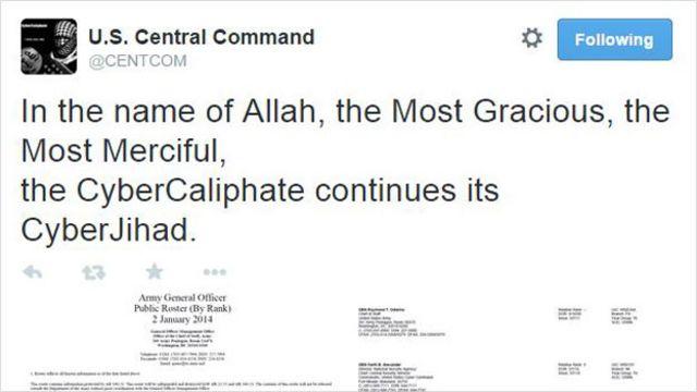 Conta do Twitter de Comando Central dos EUA é hackeada 'por Estado Islâmico'
