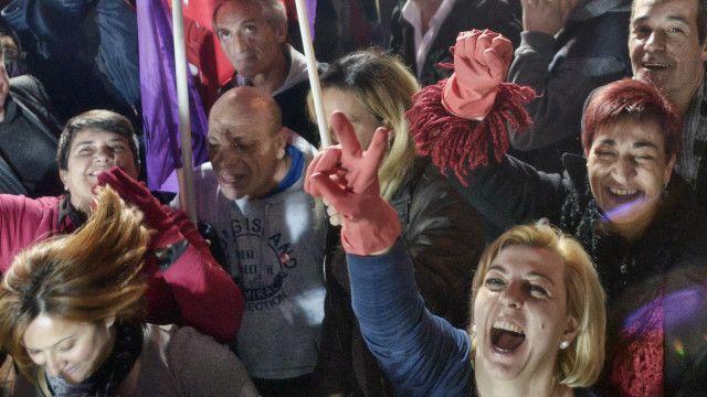 Celebración en Grecia tras victoria de Syriza