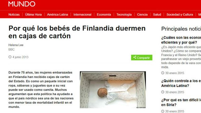 El extraño caso del artículo sobre los bebés de Finlandia que duermen en cajas