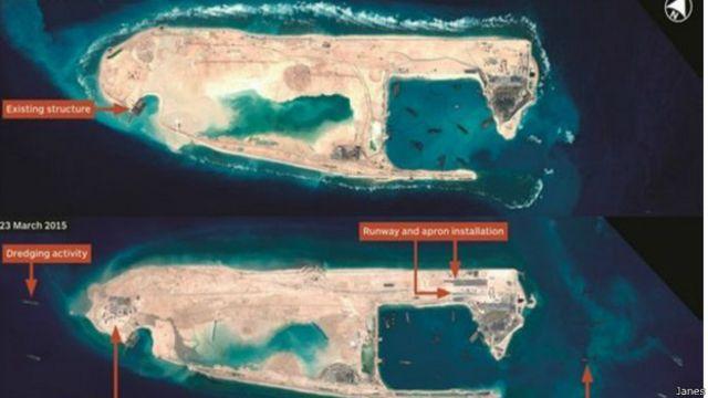 Foto de satélite mostra China construindo pista de pouso em ilhas disputadas