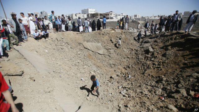 """قصف طائرات عملية """"إعادة الأمل"""" ميدان السبعين في صنعاء"""