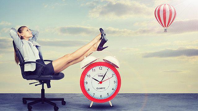 An office worker relaxing