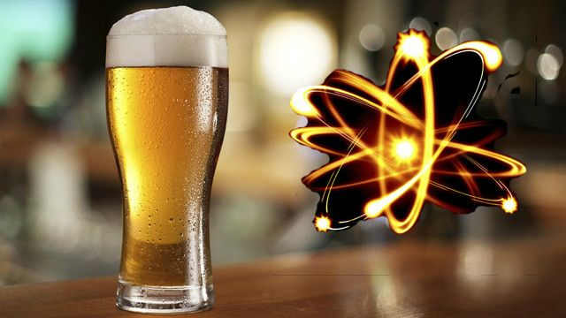 A pint of beer and the representation of an atom