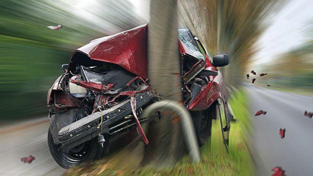 A car crashed into a tree