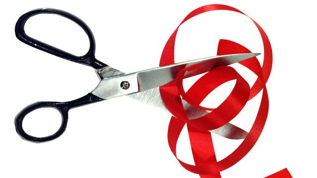 Scissors and red tape