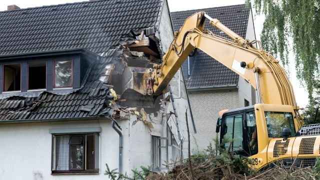 A house being demolished