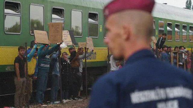 Мигранты в Венгрии требуют от полиции выпустить поезд из страны